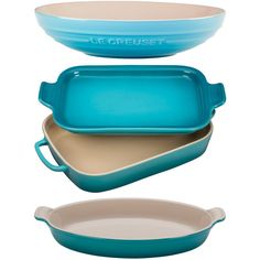 Le Creuset Caribbean Four-Piece Stoneware Set (11.855 RUB) ❤ liked on Polyvore featuring home, kitchen & dining, le creuset au gratin dish, le creuset, le creuset gratin dish and le creuset stoneware