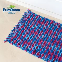 Receita e Gráfico EuroRoma • Tapete de Crochê Multicolorido Hortênsia