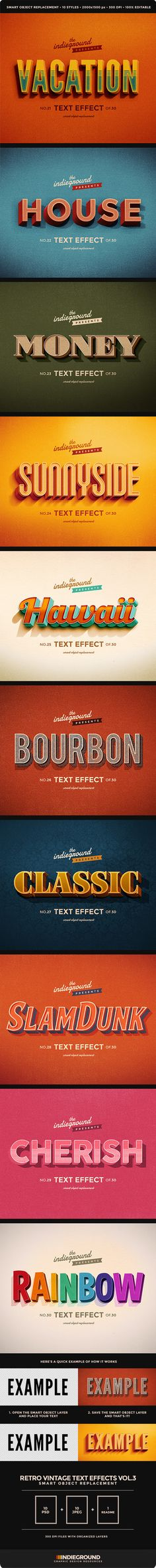 Retro Vintage Text Effects Vol. 3 - Text Effects Actions - these are all beautiful