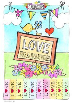 Take as much love as you need! And share! Print deze illustratie op A4 papier. Knip de lijntjes aan de onderzijde in en hang de print vervolgens op in je [...]