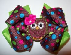 Cute hair bow for little girl, owl, fall.