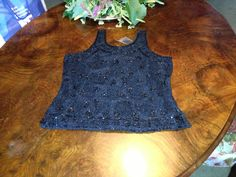 Luxurious evening cobalt blue singlet in chiffon, beads and rhinestones