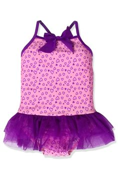 Small Girls Purple Hearts Tutu One Piece