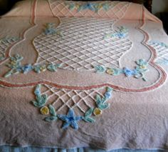 ON HOLD Pretty as a picture peach vintage chenille bedspread