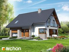 Browse images of drawing designs by ARCHON+ PROJEKTY DOMÓW. Find the best photos for ideas & inspiration to create your perfect home. Family House Plans, Modern House Plans, Modern House Design, Style At Home, Living Haus, Solar House, Prefab Homes, Traditional House, Home Fashion