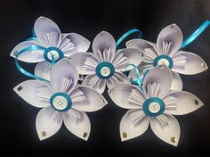 Set of five ice blue/white origami kusudama flower Christmas ornaments.   by TheCornerPaper on Etsy
