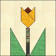 Block of Day for January 05, 2016 - Tulip on Stem-foundation piecing-The pattern may be downloaded until: Sunday, January 31, 2016.