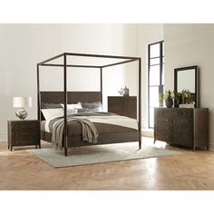 Clearance Modern Carbon Gray 4 Piece Queen Bedroom Set   Joelle