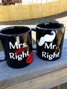 Personalized Mug Mr. Always Right Mugs - Coffee Mug ~Valentine's Mug ~ Couples Mugs Valentines Mugs, Couple Mugs, Black Coffee Mug, Personalized Mugs, Adhesive Vinyl, Vinyl Decals, Great Gifts, Anniversary, Hand Painted