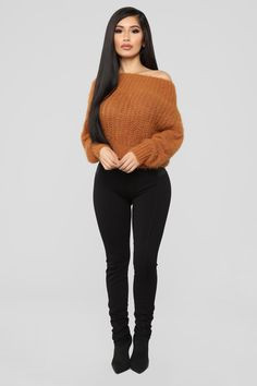 Shop women's sweaters and cardigans for winter basics and seasonal trends like oversized sweaters, turtleneck tops, off-the-shoulder necklines, long cable-knit cardis and more. Fashion Nova is your place for sexy women's sweaters. Casual Fall Outfits, Winter Fashion Outfits, Girly Outfits, Classy Outfits, Stylish Outfits, Autumn Fashion, Cute Outfits, Curvy Fashion, Look Fashion