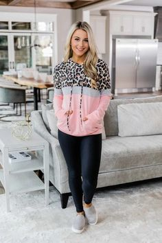 A Neverending Love Pink Animal Print Hoodie Day To Night Outfits, Lazy Day Outfits, Cool Outfits, Fashion Outfits, Animal Print Outfits, Pink Animals, Complete Outfits, Autumn Winter Fashion, Lounge Wear