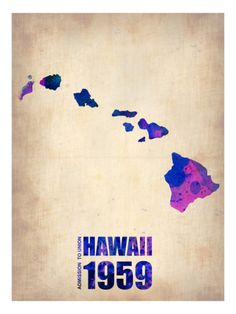 Hawaii Watercolor Map Premium Poster