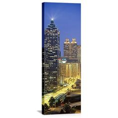 Ebern Designs Panoramic Skyscrapers Lit up at Night, Atlanta, Georgia Photographic Print on Canvas Size: H x W x D Georgia Usa, Atlanta Georgia, Canvas Art, Canvas Prints, Canvas Size, Atlanta Skyline, Panoramic Pictures, Country Landscaping, Nature Scenes