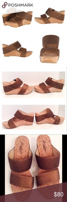Lucky Brand Bronze Wedge Sandal Lucky Brand Magnolia 2 bronze platform wedge sandal.  Size 8 medium.  New with box.  Textile upper.  Easy slip on silhouette.  Soft cork footbed.  Cork platform and wedge.  Rubber outsole.  No trades. Lucky Brand Shoes Sandals