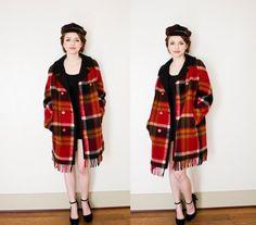 Vintage 1960s Coat - Plaid Wool Red Fringe Jacket Pea Coat with HAT 60s - Large