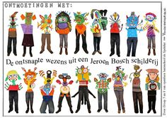 De onsnapte wezens uit een Jeroen Bosch schilderij Rembrandt, Art Lessons, Creatures, Museum, Teaching, School, Projects, Kids, Fantasy