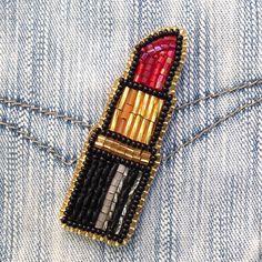 Beaded Brooch Lipstick
