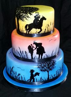 birthday cake decorating ideas for adults - happy birthday cake Country Birthday Cakes, Cowboy Birthday Cakes, Cowgirl Cakes, 3rd Birthday Cakes, Horse Birthday, Western Theme Cakes, 18th Cake, Bithday Cake, Silhouette Cake