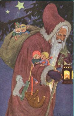 Father Christmas by German artist Franziska Schenkel (1916)