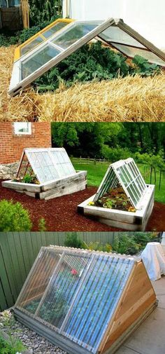42 BEST tutorials on how to build amazing DIY greenhouses , simple cold frames and cost-effective hoop house even when you have a small budget and little carpentry skills! Everyone can have a productive winter garden and year round harvest! A Piece Of Rai Diy Greenhouse Plans, Small Greenhouse, Greenhouse Gardening, Hydroponic Gardening, Hydroponics, Greenhouse Panels, Pallet Greenhouse, Greenhouse Tomatoes, Portable Greenhouse