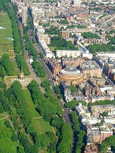 Hyde Park, the Albert Memorial and the Royal Albert Hall, London