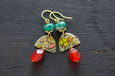 Colorful Half Moon Vintage Tin Earrings with by MusingTreeStudios #etsy…