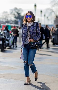 Pictured here outside the Paris shows, this week we're loving Aimee Song's head-to-toe Chanel ensemble, from her oversized sunnies and woven jacket down to her statement handbag and classic slingbacks. Photo: Christian Vierig