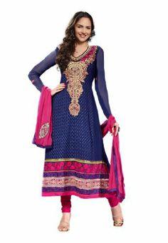 Fabdeal Indian Designer Navy Blue & Pink Pure Georgette Embroidered Salwar Kameez Fabdeal, http://www.amazon.de/dp/B00IL75KX6/ref=cm_sw_r_pi_dp_KSuntb1PNJABD