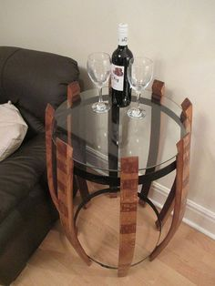 Bespoke wine barrel table with glass top