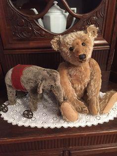 Old elephant toy and teddie bear. Old Teddy Bears, Steiff Teddy Bear, Antique Teddy Bears, My Teddy Bear, Antique Toys, Vintage Toys, Teddy Bear Pictures, Love Bear, Bear Doll