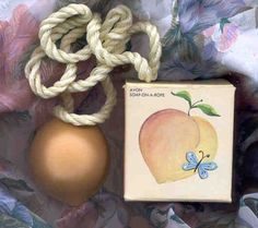 My first soap on a rope. I smelled just like a peach. Lovely.