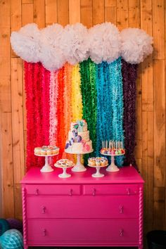 The dessert table is the centerpiece of any party. I wanted Ally's table to be bright, colorful, and scream Pony Power!  My friends at Shop Sweet Lulu have a darling rainbow backdrop tutorial on their site that I was able to easily replicate with my own spin. You can see theirs here along with purchase supplies to create your own!  I loved the backdrop so much I literally took it home with me assembled in case I want to reuse it for St. Patricks day!!