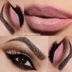 FALL INSPIRED WITH PINK makeup --- Look breathtaking in subtle pink and brown eye shadow on your next formal event. Finish off with neutral lips and get ready for some attention.