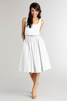 From brunch to coffee or a special celebration, feel poised in this eyelet dress.