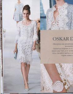 "Photo from album ""Костюм для Афродиты от Oscar de la Renta. Crochet on Yandex. Lace Knitting, Crochet Lace, Crochet Dresses, Zhurnal Mod, Shrug Cardigan, Summer Patterns, Diy Dress, Lace Skirt, White Dress"