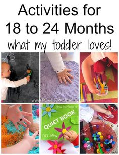 Activities for 18 to 24 Months toddlers, a great collection of home made activities and other suggestions. Follow on Pinterest.com/powermothering