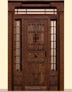Spanish Front Door, Rustic Entryway, Wood Doors, Tall Cabinet Storage, House Plans, Windows, Flooring, Projects, United Nations