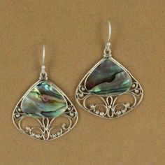 Sterling Silver Triangle Abalone Filigree Dangle Earrings $59.00 #jewelry