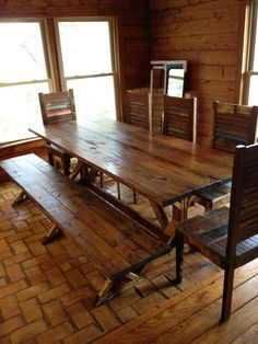 Rustic Dining Table Picnic Style With Bench Seating And Chairs Tables Reclaimed