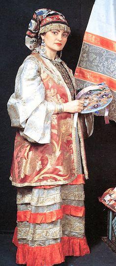 Tatar lady in Russian folk costume