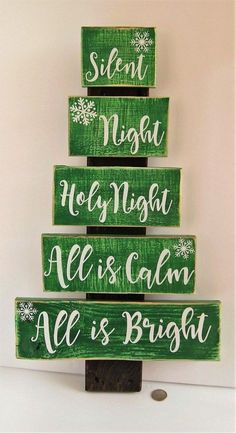 Handmade Pallet Wood Christmas Tree Silent Night Holy Night All is Calm All is B… - Decoration, Room Decoration, Decoration Appartement, Home Decor, Bedroom Decor Pallet Wood Christmas Tree, Christmas Wood Crafts, Homemade Christmas Decorations, Christmas Signs Wood, Diy Christmas Tree, Rustic Christmas, Christmas Projects, Holiday Crafts, Christmas Design