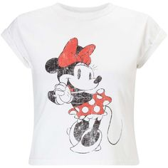Miss Selfridge PETITE Minnie Mouse T-shirt (37 CHF) ❤ liked on Polyvore featuring tops, t-shirts, petite, white, cotton t shirts, retro tops, white cotton tops, white t shirt and retro t shirts