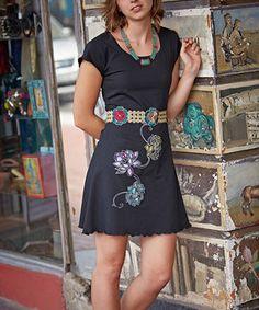 Jayli Black Lotus-Applique Scoop Neck Dress - Women by Jayli #zulily #zulilyfinds