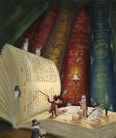When I read the characters and their surroundings come alive as depicted in this illustration. They become a part of me, that is why I love books, they allow me to go everywhere and throughout time. I Love Books, Books To Read, Book Art, Reading Art, Reading Books, World Of Books, Old Books, Book Nooks, Library Books