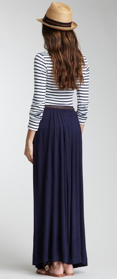 Stylish long skirt paired with a comfortable sleeved top and hat. Gorgeous! http://www.hautelook.com/index/index/mk/invite/inventory_id/10314218/?sid=75971mid=affiliatecid=hellosoci5aid=type56