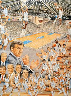 Tar Heel Basketball Team | ... of North Carolina UNC Tar Heels Basketball 1986 Team Art Print