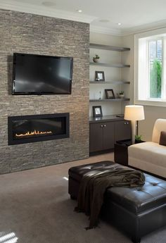 You could use the fireplace wall as your TV wall once it's in - not sure how you'd set the TV wires though.