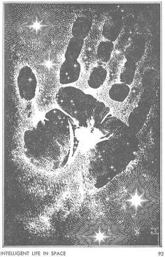 """Concecpción artística de la mano de Virgil Finley a favor de """"Amazing Magazine"""" (marzo 1963)."""