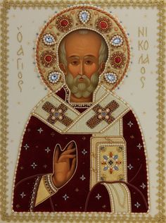 This icon of St Nicholas the Wonderworker has a handmade oklad. The icon is painted and consecrated in St Elisabeth Convent. A wide selection of icons in oklad (riza) Byzantine Icons, Byzantine Art, Religious Icons, Religious Art, Old Fashion Christmas Tree, Retro Christmas, Prayer Corner, Paint Icon, Romans