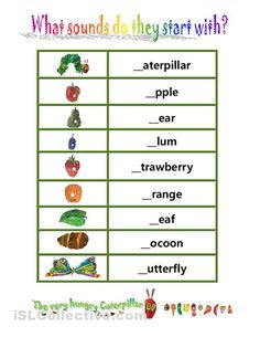 hungry caterpillar beginning sounds